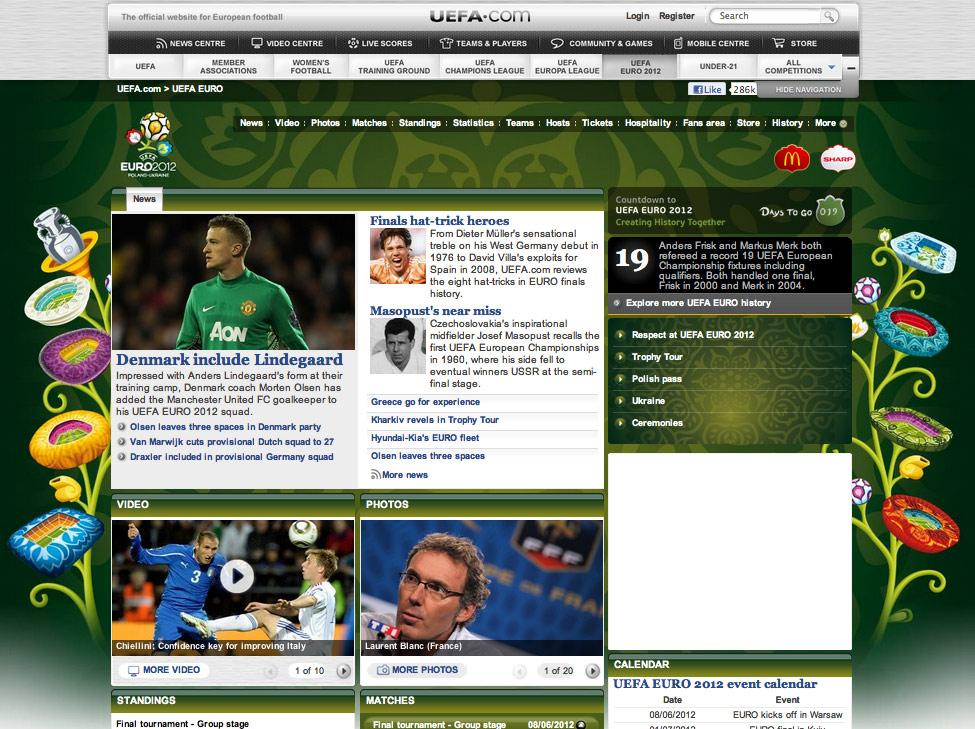 uefa cup 2012 web design