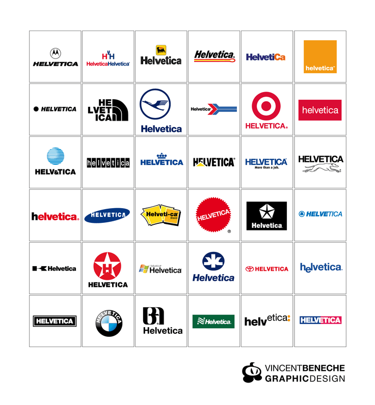 fake helvetica logotype famous brands