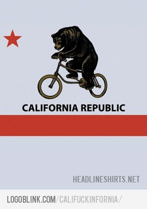 california flag bear with bike